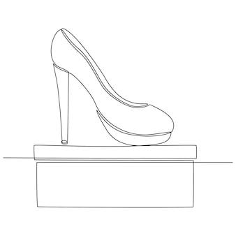 Continu lijntekening van damesschoenen schoen winkel concept vectorillustratie