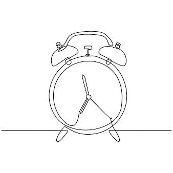 Continu lijntekening van een wekker vectorillustratie