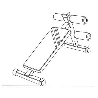 Continu lijntekening van fitness tools lichaam vectorillustratie