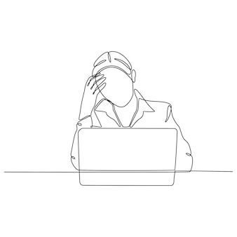 Continu lijntekening van gestresste vrouw geconfronteerd met baan vectorillustratie