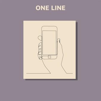 Continu lijntekening van handen die een moderne mobiele telefoon vasthouden