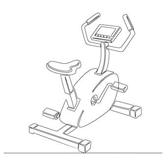 Continu lijntekening van hometrainer sportuitrusting vectorillustratie