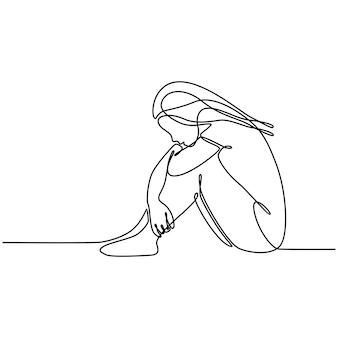 Continu lijntekening van lachende vrouwelijke klantenservice operator vectorillustratie
