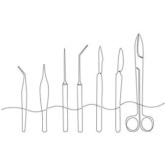 Continu lijntekening van medische apparatuur medische schaar vectorillustratie