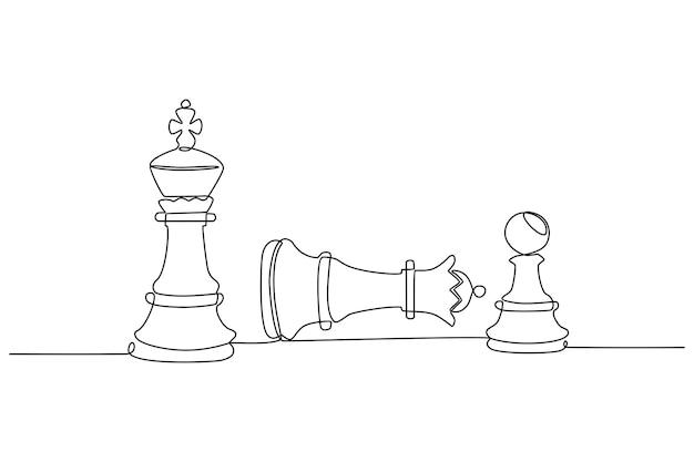 Continu lijntekening van schaakfiguren die bewegen in competitie succes spel vectorillustratie
