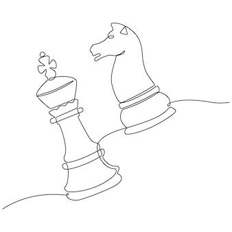 Continu lijntekening van schaakfiguur bewegen in spel vectorillustratie