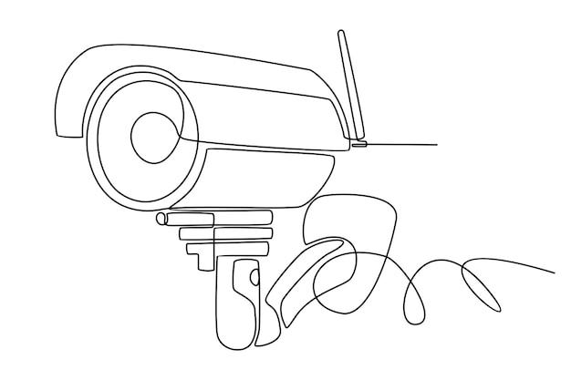 Continu lijntekening van surveillance cctv camera schets vector
