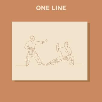 Continu lijntekening van twee mannelijke karate-atleten