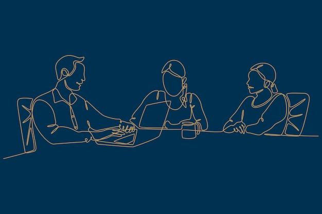 Continu lijntekening van zakenmensen die vectorillustratie bespreken