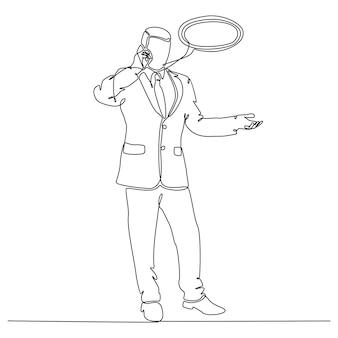 Continu lijntekening zakenman concept communiceren vectorillustratie