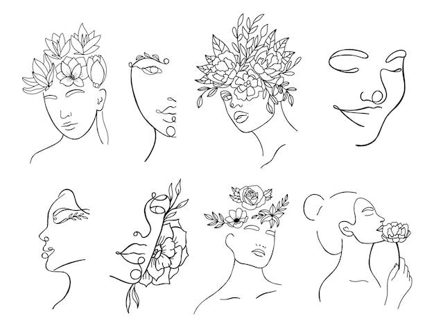 Continu lineair silhouet van vrouwelijk gezicht