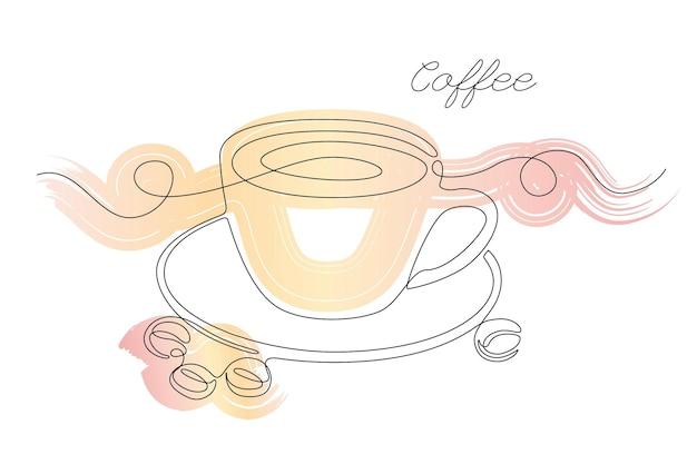 Continue één lijntekening van kopje koffie met koffieboon met abstracte pastel penseelstreek