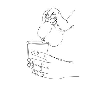 Continue lijntekening menselijke hand gieten melk of heet water uit een milkshaker in een papieren beker