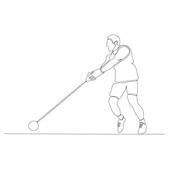 Continue lijntekening speerwerpen gooien vectorillustratie