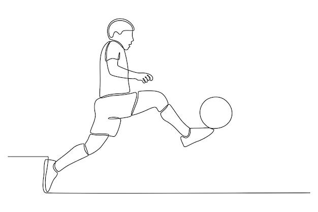 Continue lijntekening van een voetballer geïsoleerd op een witte achtergrond vector