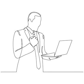 Continue lijntekening van gelukkige man gebaren en kijken naar laptopcomputer geïsoleerd