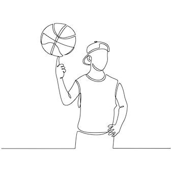 Continue lijntekening van jongen professionele basketbalspeler geïsoleerd met bal fitness concept