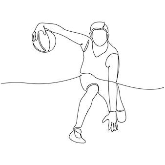 Continue lijntekening van mannelijke professionele basketbalspeler geïsoleerd met bal fitness concept