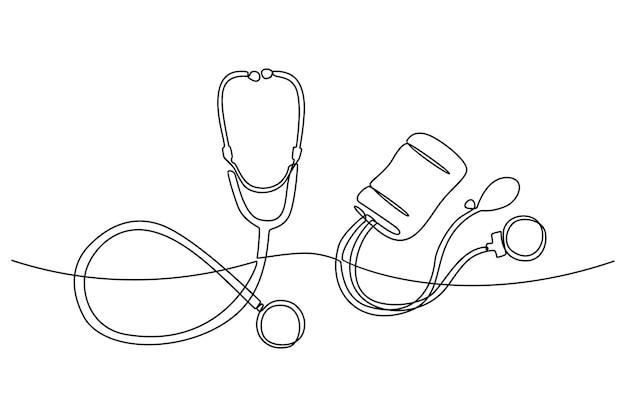 Continue lijntekening van stethoscoop
