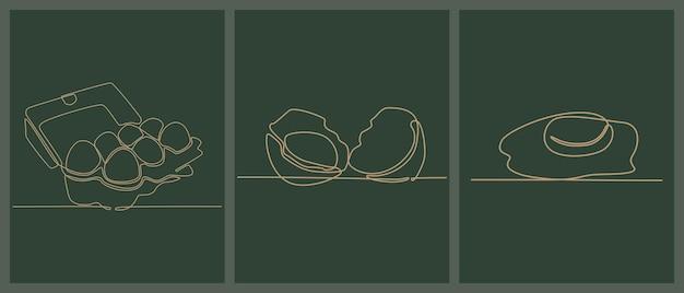 Continue lijntekening van vers ei vectorillustratie