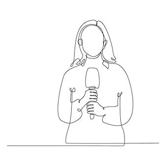 Continue lijntekening van vrouwelijke journalist met microfoon die een live-uitzending doet vector
