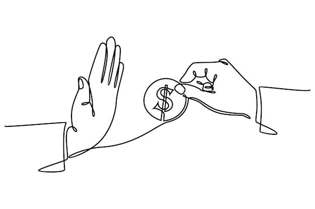 Continue lijntekening van weigering om geldrekeningen te betalen omkoping lening en financieringsconcept vector