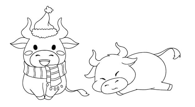 Contour illustratie van twee verschillende kleine koeien die kerstkostuum dragen