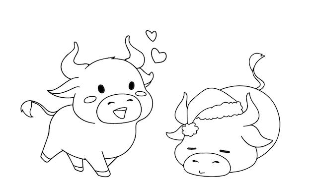 Contour illustratie van twee verschillende kleine koeien die kerstkostuum voor kleurboek dragen