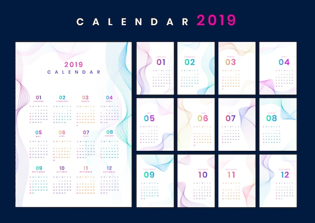 Contour ontwerp kalender mockup