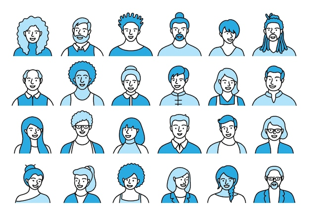 Contourreeks personen, avatars, mensenhoofden van verschillende etniciteit en leeftijd in vlakke stijl. mensen met meerdere nationaliteiten worden geconfronteerd met de verzameling pictogrammen van de sociale netwerklijn.