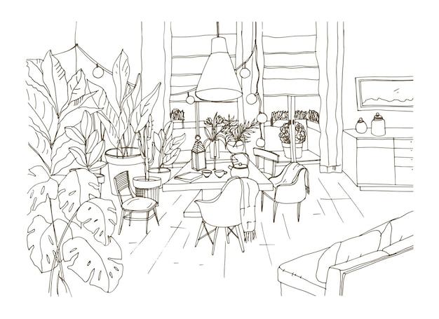 Contourtekening van gezellige eet- of woonkamer ingericht in trendy scandic hygge stijl met tafel, stoelen en bank