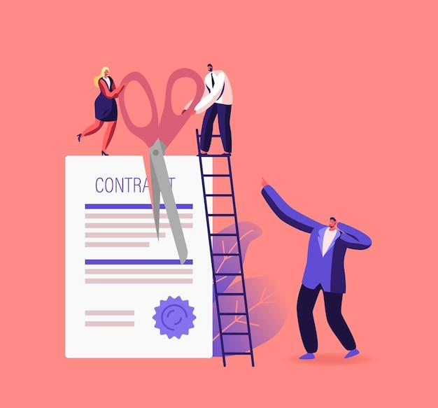 Contract annulering, overeenkomst beëindiging illustratie