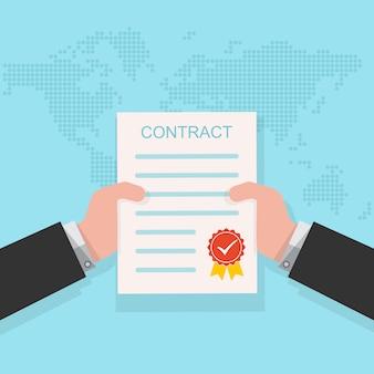 Contract in de hand. vector illustratie