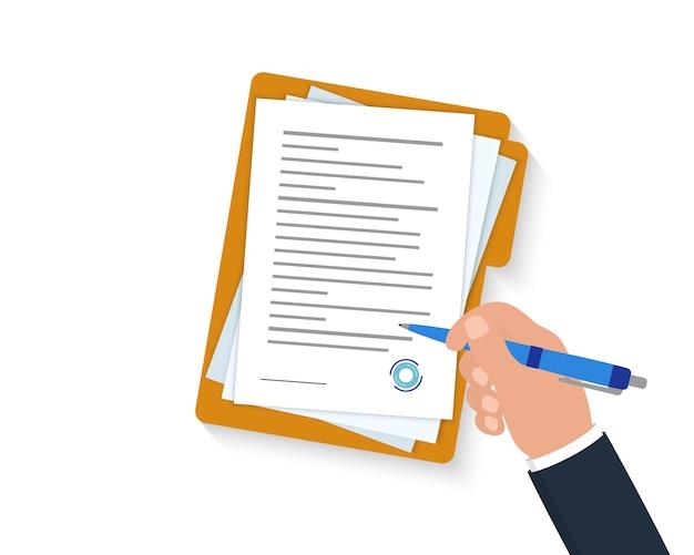 Contract- of documentondertekening. zakenmanhand die zakelijk contractpapier vasthoudt en ondertekent. klembord met vel papier en pen. bedrijfsconcept, vectorillustratie.