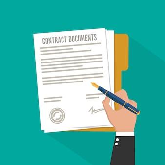 Contract ondertekenen. vlakke stijl illustratie concept afbeelding