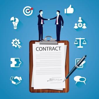 Contract ondertekening juridische overeenkomst concept. vector illustratie