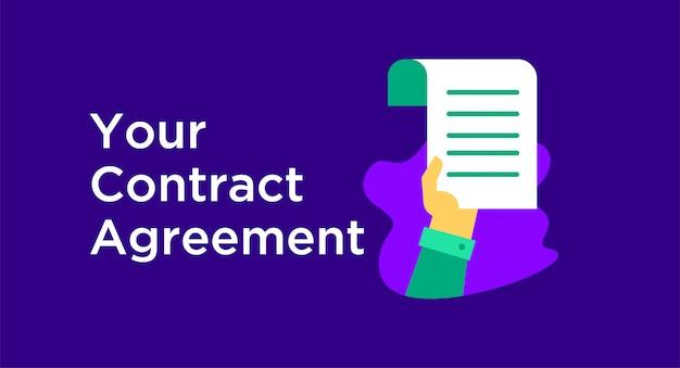 Contract overeenkomst illustratie