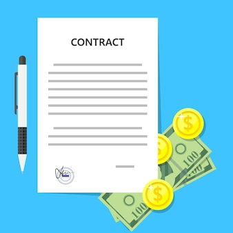 Contract overeenkomst money deal memorandum van overeenstemming juridisch document stempel zegel