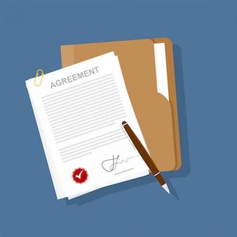 Contract pictogram overeenkomst pen op bureau platte zakelijke illustratie.