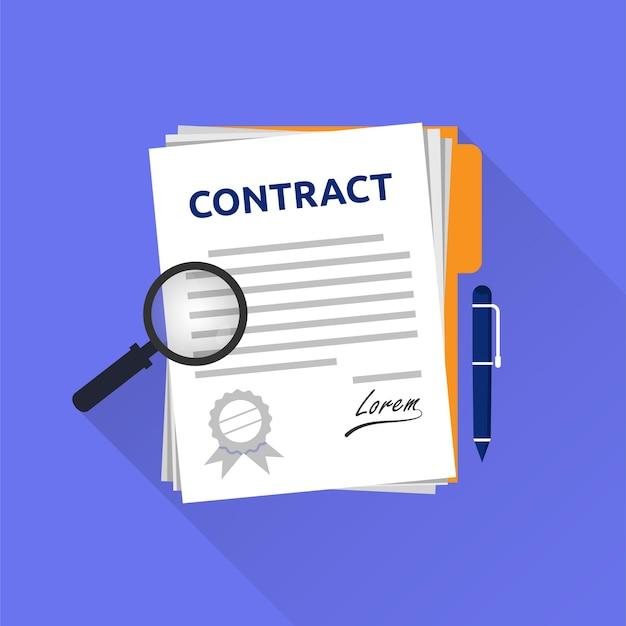 Contractdocument of juridische overeenkomst met handtekening en stempel concept illustratie.