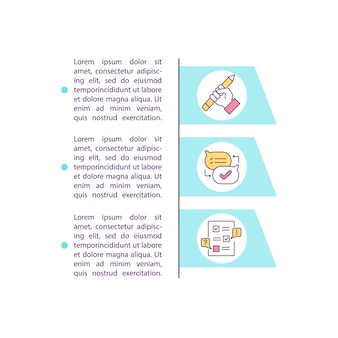 Contractinitiatie en onderhandeling concept pictogram met tekst. beheer van de levenscyclus van een overeenkomst. ppt-paginasjabloon. ontwerpelement voor brochure, tijdschrift, boekje met lineaire illustraties