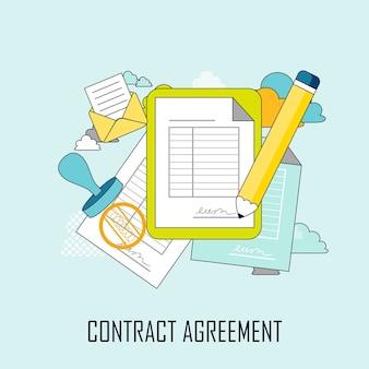 Contractovereenkomst concept: documenten en pen in dunne lijnstijl
