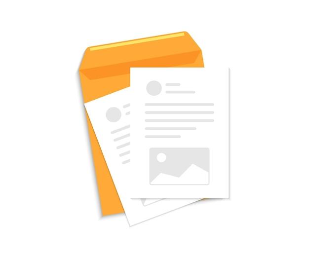 Contractpapieren. document, bedrijfsrapport of overeenkomst. envelop met document en tekst. zakelijke documenten. documenten envelop