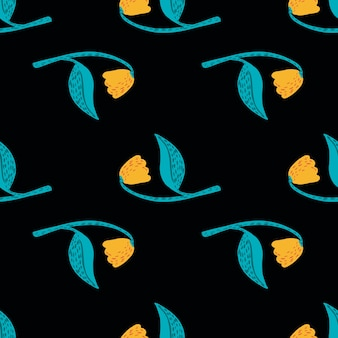 Contrast naadloos bloemenpatroon met gele en blauw gekleurde elementen.