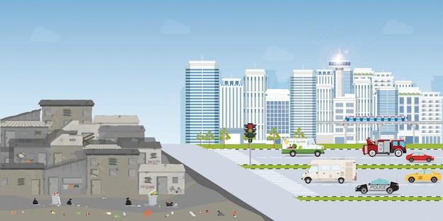 Contrast van krottenwijkstad en stedelijke stad