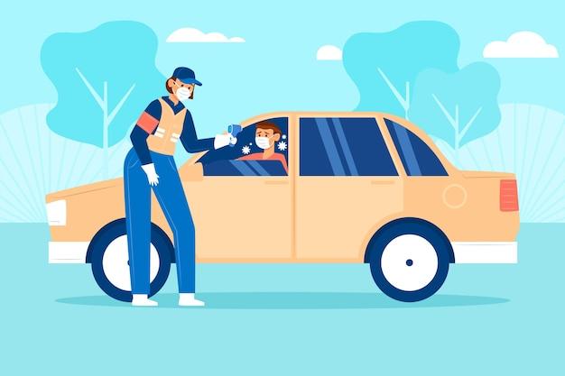 Controle van de lichaamstemperatuur van chauffeurs