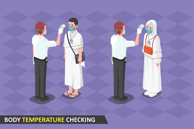 Controle van de lichaamstemperatuur van de hadj tijdens pandemie