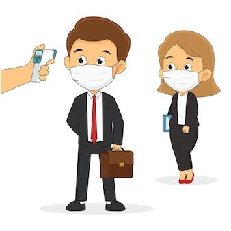 Controle van de temperatuur van zakenman en manager in kantoorruimtes