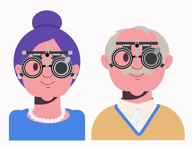 Controle van het gezichtsvermogen van ouderen in de oogkliniek optometrist controleert het gezichtsvermogen lensselectie