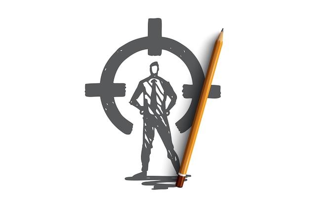 Controle, zicht naar achteren, doel, doel, cirkelconcept. hand getekende persoon in pak op achterste zicht concept schets.